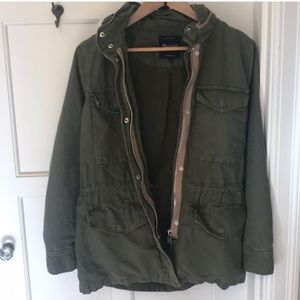 Madewell green hooded jacket size S